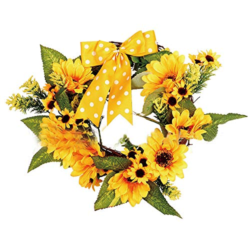 Home Decoration Flower Wreath, Elevin(TM) Sunflower Ribbon Fall Door Wreath Wall Ornament Love Christmas Thanksgiving Decor