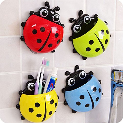 HuntGold 1PC Kids Toothbrush Holder New Creative Lovely Strong Sucker Vacuum Suction Cups Ladybug Toothbrush Toothpaste Holder Great Gifts Red