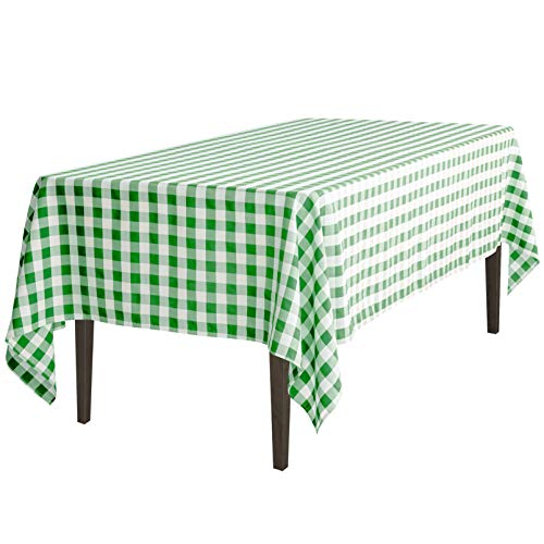 LinenTablecloth 60 x 102-Inch Rectangular Tablecloth Green & White -