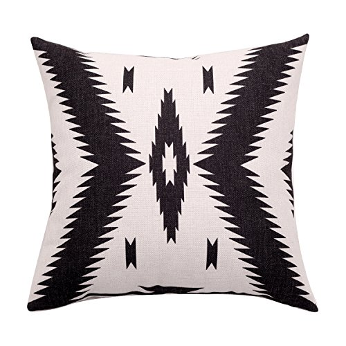 BreezyLife Aztec Throw Pillow Covers Tribal Decorative Pillow Cases Linen Square Cushion Covers for Sofa Couch Farmhouse Outdoor 22x22 Inches ()