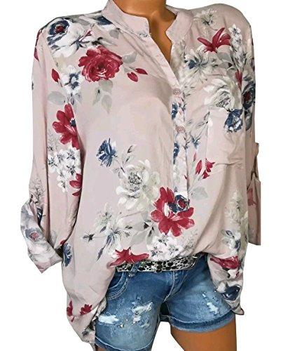 Chemisiers Longues Manches Automne Shirts Casual Blouses Shirts et Tops Fashion Rose T Haut Imprim Printemps Femme Lache O6w7qR