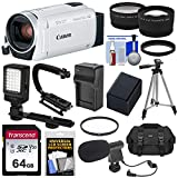 Canon Vixia HF R800 1080p HD Video Camera Camcorder (White) with 64GB Card + Battery & Charger + Case + Tripod + Stabilizer + LED + Mic + 2 Lens Kit