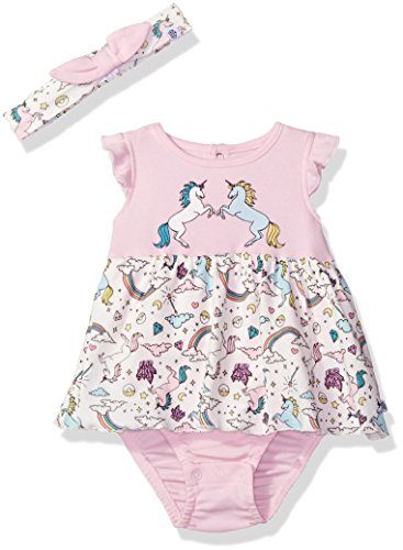 Rosie Pope Baby Girls' Little 2 Piece Set with Headband and Matching Diaper Cover, Pink Unicorn 24M