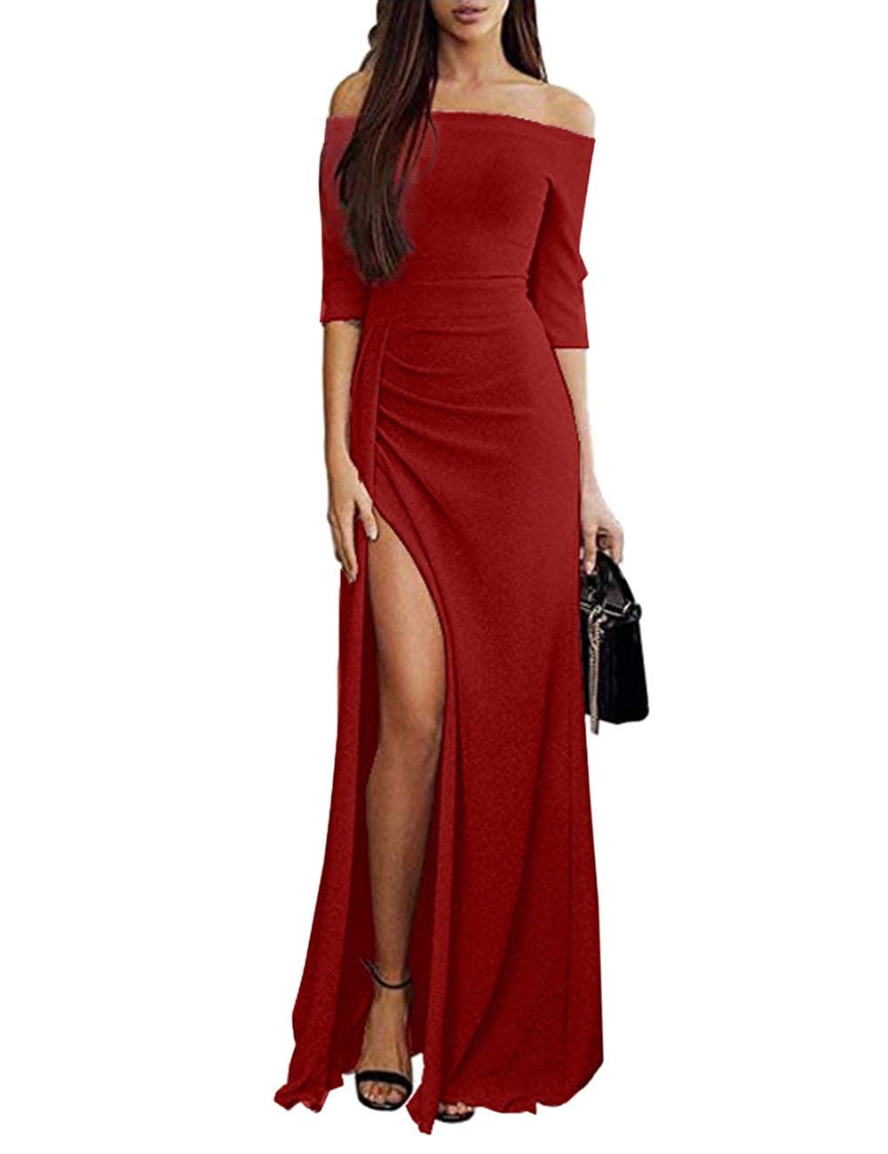 SEBOWEL Women Elegant Off Shoulder Evening Gown Slim Split Party Long Maxi Dress