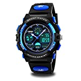 Kids Watches, Boys Mulitfunction Sports Watches 50M Waterproof Analog Digtal Dual Time Watch with Alarm Stopwatch Calendar Watches for Kids