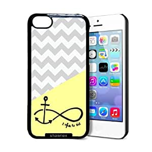 fashion case Lemon Grey Chevron Anchor Refuse To Sink iphone 6 plus Case - Thin Shell Plastic Protective Case iphone 6 plus Case