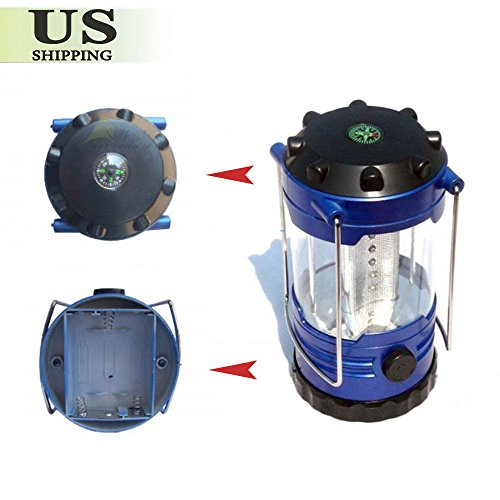 Portable 12 LED Camping Bivouac Hiking Tent Lantern Fishing Light Lamp + Compass by Generic