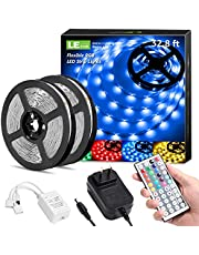 LE LED Strip Lights Kit, 16.4ft 5M RGB LED Light Strips, Color Changing Light Strip with Remote Control, 12V Power Supply for Kitchen, Bedroom, and More, Non Waterproof