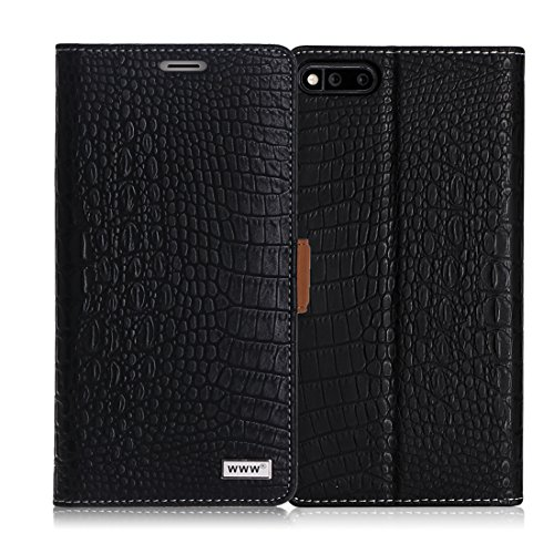 Razer Phone Case, WWW [Crocodile Pattern] Premium PU Leather Wallet Case Flip Phone Case Cover with Card Slots for Razer Gaming SmartPhone (2017 Android Model) Black by WWW