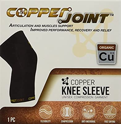 CopperJoint Compression Knee Sleeve, #1 Copper Infused Fit Support - GUARANTEED Recovery Brace - Wear Anywhere - Single