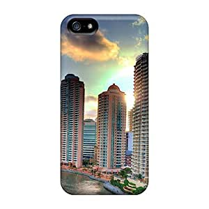 Luoxunmobile333 Iphone 5/5s Well-designed Hard Cases Covers Skyscrapers Buildings Clouds City Protector