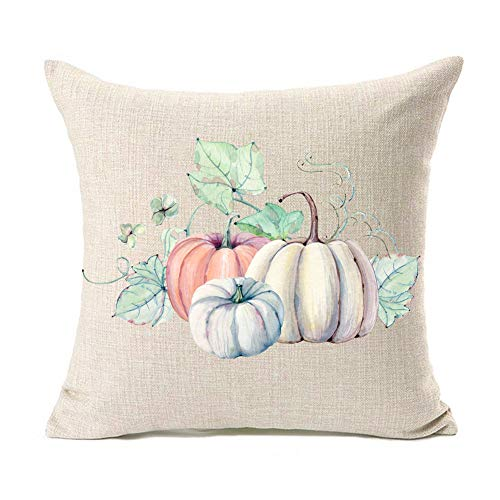 Kithomer Watercolor Pumpkin Throw Pillow Cover Home Decor Halloween Cushion Case for Couch Sofa 18 x 18 Inch Fall Autumn Thanksgiving