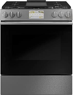 Cafe C2S900M2NS5 30 in. 5.7 cu. ft. Slide-In Dual Fuel Range with Self-Cleaning Convection Oven in Platinum Glass
