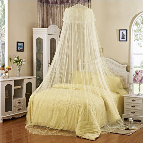 Elegant Lace Bed Canopy Mosquito Net White by JASSINS