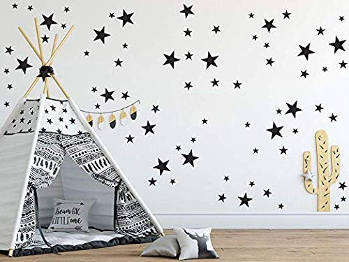 Removable Wall Decals for Kids Room Decoration +Dots, Polka+Stars+Cloud+Heart+Stickers+Easy to Peel Easy to Stick + Metallic Vinyl Decor by BUGYBAGY (Black, Mix Star 170 Pcs)