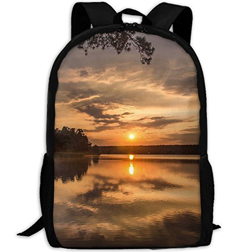 Trees Sunset Lake Reflection Man & Woman Backpack Daypack Fit Hiking&Camping,College by SuBenSM