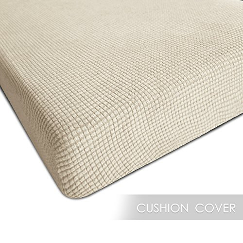 CHUN YI Jacquard Polyester Spandex Slipcover (Loveseat Cushion, Ivory White) Chunyi