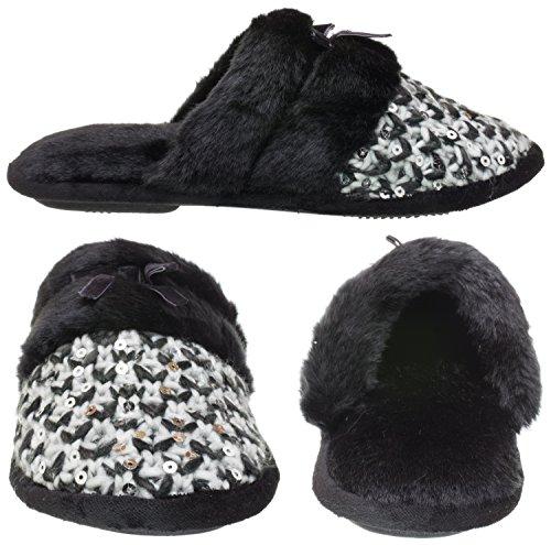 Isotoner Womens Paillettes Multi Knit Janel Sabot Noir
