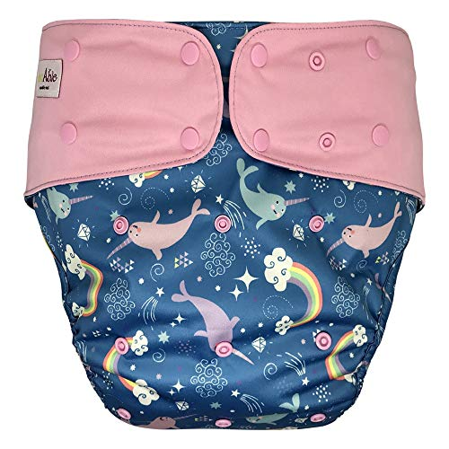 Cloth Diaper Cover - Reusable Special Needs Incontinence Briefs for Big Kids, Teens and Adults (Narwhal, Extended)