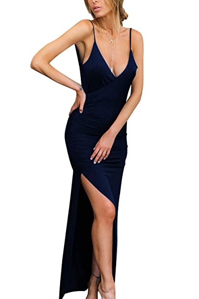 80f0fe1cec5 Velius Women s Sexy Spaghetti Strap V Neck High Slit Backless Party Wrap  Maxi Dress (Blue