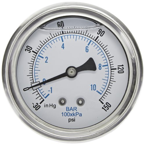 PIC Gauge 203L-204D Glycerin Filled Industrial U-Clamp Panel Mount Pressure Gauge with Stainless Steel Case, Brass Internals, Plastic Lens, 2