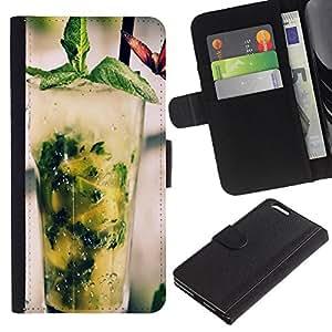 """JackGot ( Fresco cóctel Mojito"""" ) Apple (5.5 inches!!!) iPhone 6+ Plus / 6S+ Plus la tarjeta de Crédito Slots PU Funda de cuero Monedero caso cubierta de piel"""