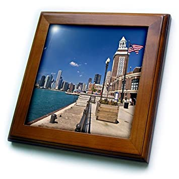 Joe Restuccia III 8 by 8-Inch Framed Tile 3dRose ft/_90201/_1 Chicago skyline from Navy Pier Illinois US14 JRE0015