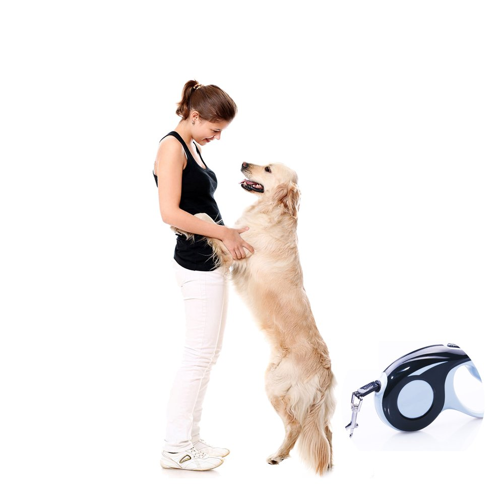 LXZDL-Retractable Dog Leash, 16ft Dog Walking Leash for Large Medium Small Dogs up to 110 lbs, Tangle Free, Soft Hand Grip, Reflective Ribbon Cord, One Button Brake & Lock