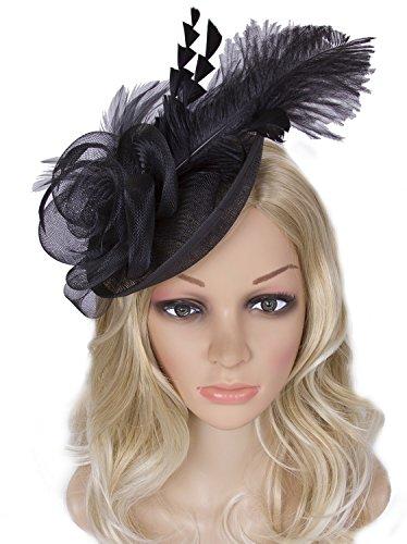 Vijiv Women Vintage Derby Fascinator Hat Pillbox Headband Feather Cocktail Tea Party,Black,One Size by Vijiv (Image #3)