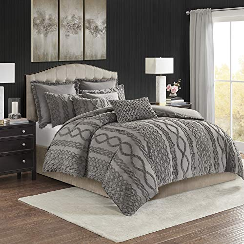 MADISON PARK SIGNATURE Aran Isles Oversized Dyed Cotton Tufted Chenille Comforter Set, King, Gray (Gray Tufted Comforter)