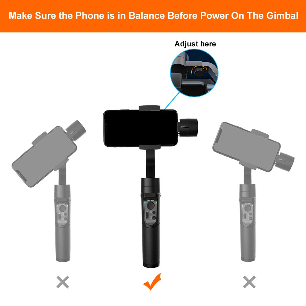 hohem Smartphone Gimbal, 3-Axis Handheld Gimbal stabilizer for Smartphones Compatiable with iPhone XS/XS Max/XR/X/iPhone 8/8 Plus, Vertigo Shoot/Time Lapse/Pull & Zoom Capability (iSteady Mobile)