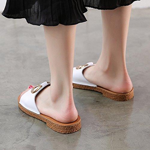dérapantes d'été femmes plates anti strass plates Sandales JIA pantoufles blanc pour 1q6tAwBZ