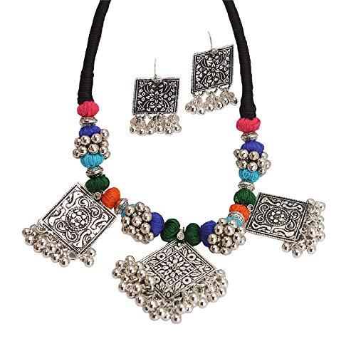 Zephyrr Afghani/Turkish Choker Necklace Earrings Set Silver Tone Casual Daily Wear Statement Jewelry for Women JAN-1964