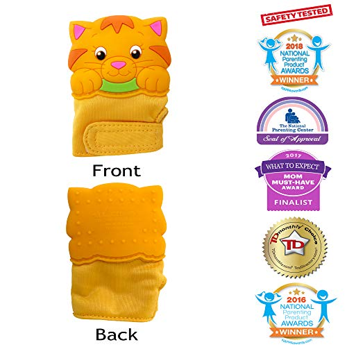 (Silli Chews Baby Teething Mittens Glove for Babies Infant Silicone Self Soothing Teether Toy Munch and Bite Chew Toys Newborn Soother Scratch Hand Mitt Animal Finger Puppet Unisex Cat 3-12 Months)