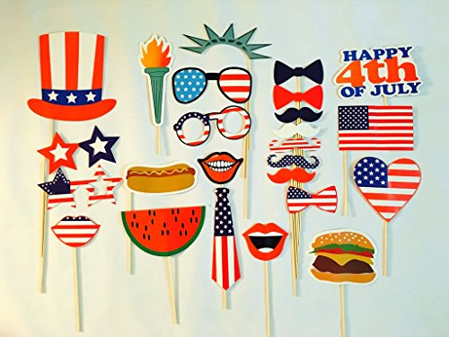 [USA-SALES] 4th of July Photo Booth Props, Independence Day Party Decorations, Attached to the Sticks, by USA-SALES Seller