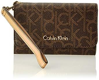 Calvin Klein Monogram Cell Phone Case, Brown/Khaki/Camel, One Size