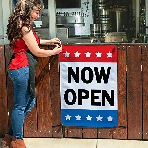 HALF PRICE BANNERS | Now Open Vinyl Banner | Mesh Wind Resistant | 3'x2' Stars | Free Ball Bungees & Zip Ties | Easy to Hang Advertising Sign |for New Business Stores | Various Sizes | Made in USA