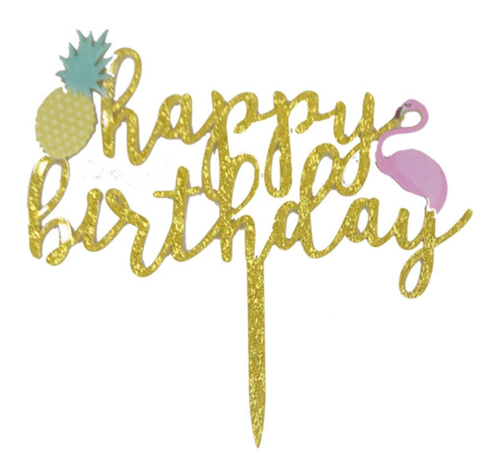 CaJaCa Flamingo Pineapple Birthday Cake Toppers picks Decoration Glitter One Tropical Hawaiian Luau Themed Baby Shower Party Supplies