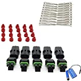 BCP 5 Kits Weatherproof Electrical 2 Pin Way Connector