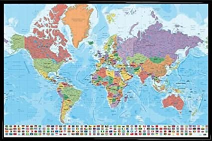 Amazon 1art1 world maps poster and frame plastic mapa 1art1 world maps poster and frame plastic mapa mundo ita fisico politico gumiabroncs Image collections