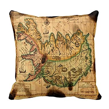 Home Style 18 x 18 Antique Map of Iceland Throw Pillow Case