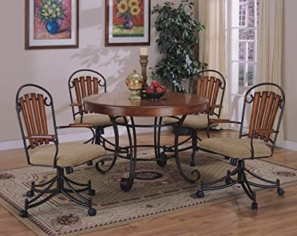 Surprising Amazon Com 5Pc Solid Birchwood Metal Finish Round Dining Ncnpc Chair Design For Home Ncnpcorg