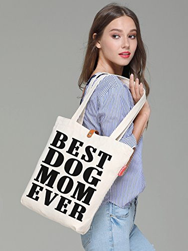 Beige Canvas Tote Mom 38cm Ever 10L Best Bag amp; Beach Print Dog So'each Uxd1w7nq7