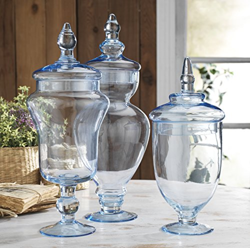 Classic Home Glass Blue Apothecary Jars, Wedding Candy Buffet Containers (Set of (Candy Buffet Set)