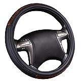 NEW ARRIVAL- CAR PASS Wood Grain Universal Leather Steering Wheel Cover fit for trucks,suvs,vans,sedans (Black)