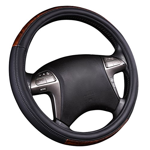 Grain Padded Leather (NEW ARRIVAL- CAR PASS Wood Grain Universal Leather Steering Wheel Cover fit for trucks,suvs,vans,sedans (Black))