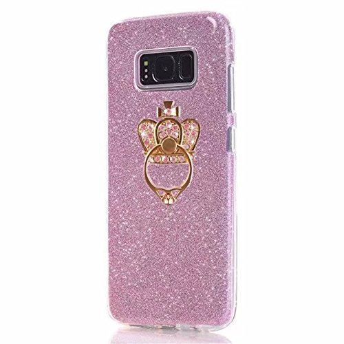 LG X Power 2 Case,LG X Charge Case,LG V7 Case,Ring Kickstand Stand Slim Fit Ultra Thin Shinny Gradient Glitter Sand Soft Protective Bumper TPU Case for LG X Power2/ X Charge/ V7(ring Glitter Rose) V7 Ultra Protective Sleeve