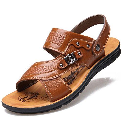 Wangcui tamaño Antideslizantes Marrón EU Color para Negro 40 Sandalias Sandalias De Cuero De Transpirables Verano Hombres FHrF76BZc