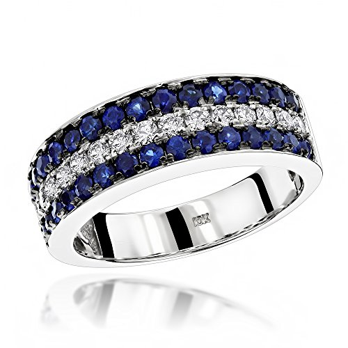 Luxurman Unique 3 Row Sapphire and Diamond Wedding Band 10K Ring (White Gold Size 11.5)