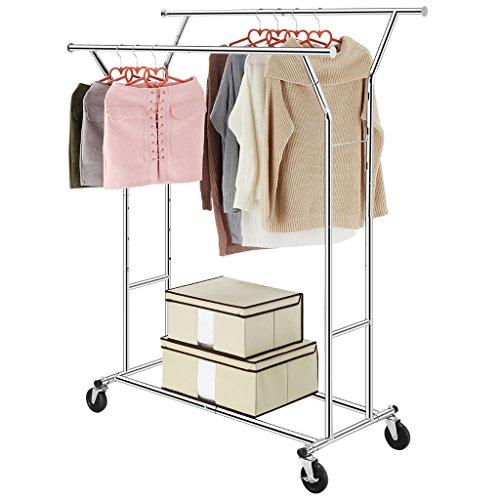 LANGRIA Heavy Duty Commercial Grade Clothes Rack Supreme Double Rail Garment Rack Rolling Rack Steel Adjustable Clothing Rack, Chrome Finish